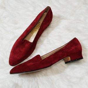Salvatore Ferragamo red suede low heel loafer